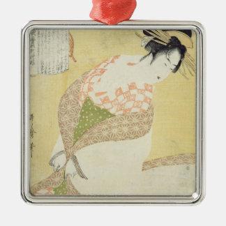 Courtesan Kneeling Silver-Colored Square Ornament