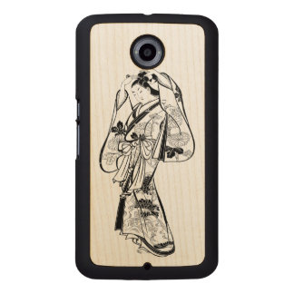 Courtesan Placing a Hairpin in Her Hair Wood Phone Case