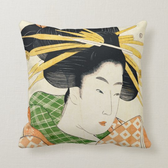 Courtesan Shizuka 1797 Throw Pillow