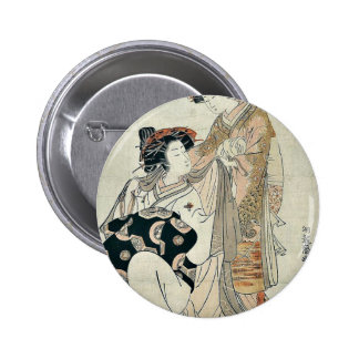 Courtesan Somenosuke by Isoda,Koryusai Pinback Button
