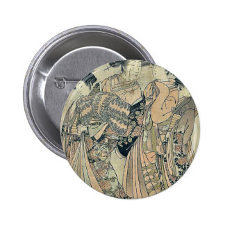 Courtesan Wakamatsu of Otawara ya by Isoda,Korysai Pinback Buttons