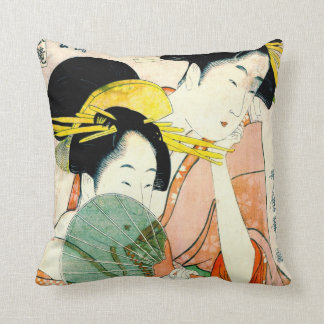 Courtesans Hinatsuru and Hinamatsu 1798 Throw Pillow