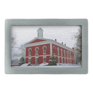 Courthouse Snow Rectangular Belt Buckles