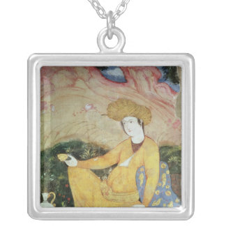 Courtier from the Court of Shah Abbas I Square Pendant Necklace