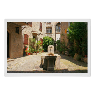 Courtyard Fountain Poster