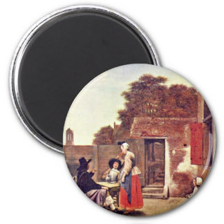 Courtyard With Two Officers And Drinking Woman By Magnet