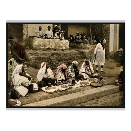 Couscous sellers and an Arab cafe, Tunis, Tunisia Post Cards