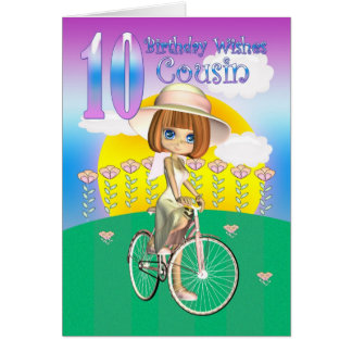 Cousin 10th Birthday Card with little girl on bike