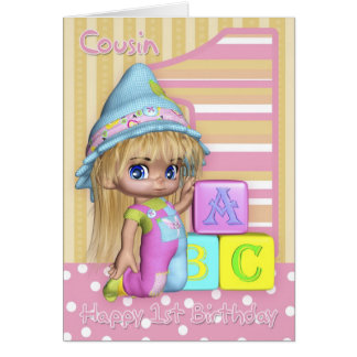 Cousin 1st Birthday Card With Cute Little Girl