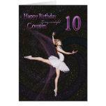Cousin age 10, a ballerina birthday card