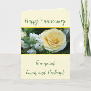 Cousin and Husband Anniversary Yellow Rose Card