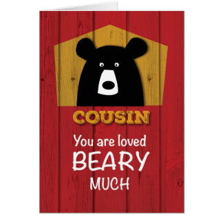 Cousin, Bear Valentine Wishes on Red Wood Grain Card