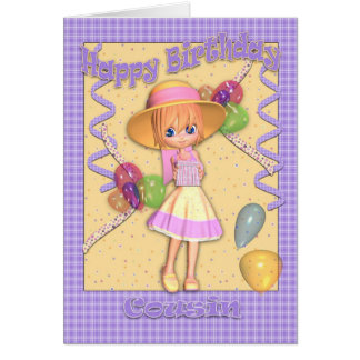 Cousin Birthday Card - Cute Little Girl