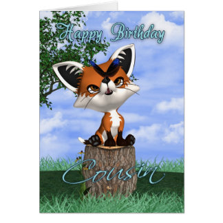 Cousin Birthday Card With Cute Fox And Butterfly