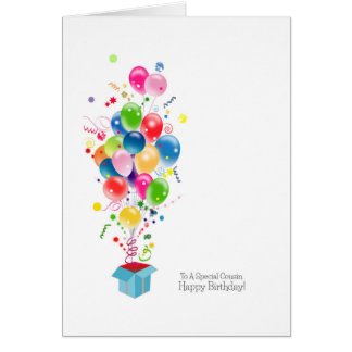 Cousin Birthday Cards, Colourful Balloons In Box Card