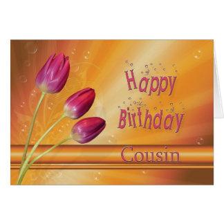 Cousin, Birthday tulips full of sunshine Card