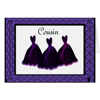 COUSIN Bridesmaid Invitation PURPLE Gowns