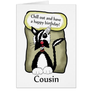 Cousin Chill Out Birthday Card - Emo Cat Birthday