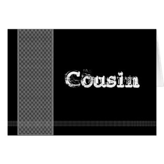 COUSIN - Groomsman - Black and Silver Checks Greeting Card