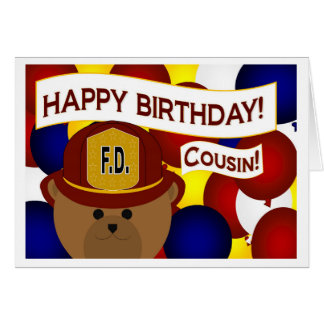 Cousin - Happy Birthday Firefighter Hero! Greeting Card