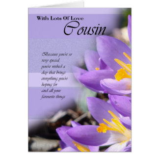 Cousin purple crocus Birthday Card