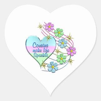 Cousins Make Life Sparkle Heart Sticker