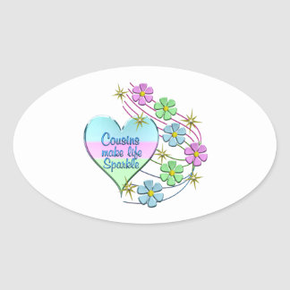 Cousins Make Life Sparkle Oval Sticker