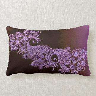 coussin 2 floral de mehndi violet de henné