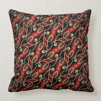 Coussin carré Jimette Design rouge vert et noir Throw Pillow