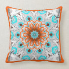Coussin carré Jimette Design turquoise brun blanc Throw Pillow