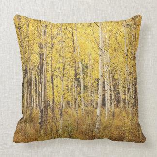 Coussin d'arbre de bouleau - jaune, or brun, blanc