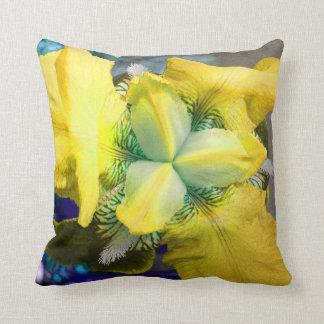 Coussin de fleur d'iris jaune