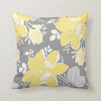 Coussin décoratif floral jaune de blanc gris
