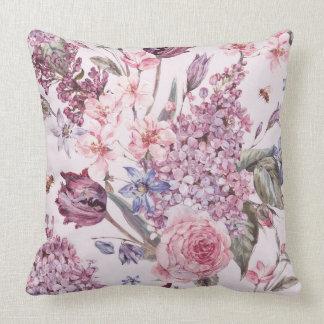 Coussin décoratif floral rose
