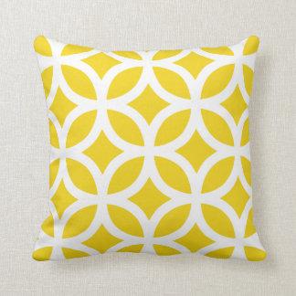 Coussin géométrique de motif dans jaune citron