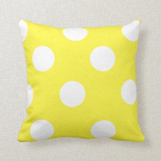 Coussin Point de polka jaune citron et blanc