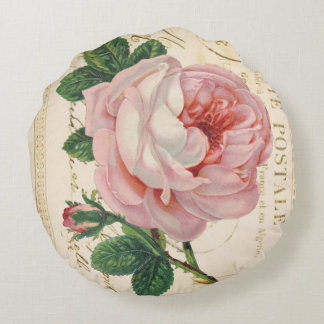 Coussin rose de coton de Postale Avec de carte Coussin Rond