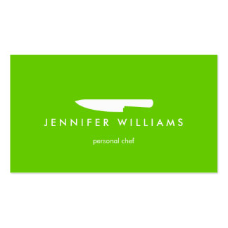 Couteau de chef sur le vert pour approvisionner, r carte de visite standard