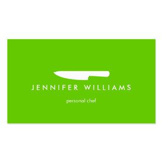 Couteau de chef sur le vert pour approvisionner, r carte de visite