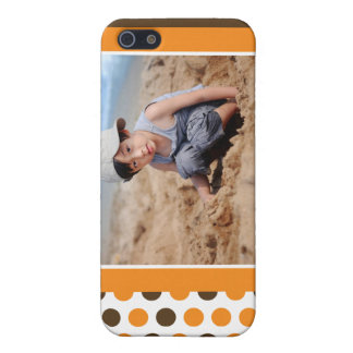 Coutume de photo de Polkadot (orange) Coque iPhone 5