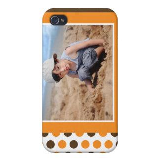 Coutume de photo de Polkadot (orange) Étui iPhone 4/4S