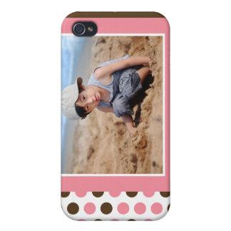 Coutume de photo de Polkadot (rose) Étuis iPhone 4