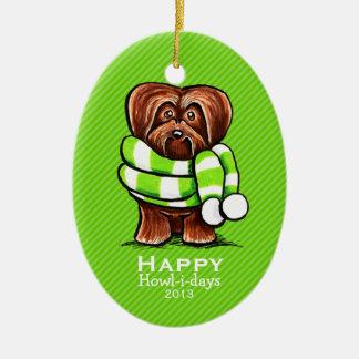 Coutume de rayure de Noël d écharpe de Havanese de Ornements De Noël