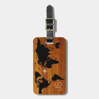 coutume en bois de monde-carte de voyage étiquettes bagages