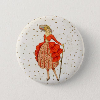 COUTURE. FASHION, VINTAGE FRENCH BELLE EPOQUE 2 INCH ROUND BUTTON
