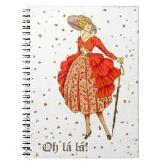 COUTURE. FASHION, VINTAGE FRENCH BELLE EPOQUE SPIRAL NOTEBOOK