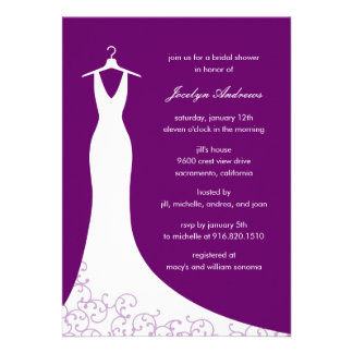 Couture Gown Bridal Shower Invitation Purple Custom Announcements