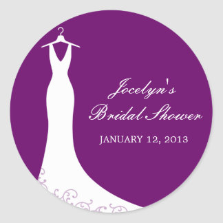 Couture Gown Favor Sticker (Purple)