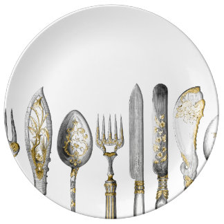 Couverts de cuillère de fourchette de couteau assiette en porcelaine
