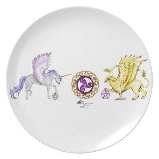 coven symbol spiral essence unicorn griffon plate
